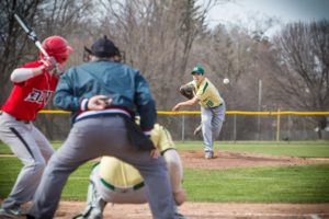 MCC's Nick Holt delivers a pitch during his complete game win over Holton. Photo/Tim Reilly