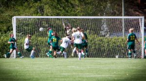 WMC's Jessica Kinnucan scores 9:30 into the first half after a corner kick by Alli Langeland. PHOTO/Tim Reilly