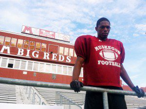 Muskegon senior defensive back/running back John Hall is one of he mos dynamic players in the state. (Photo by Mark Lewis)
