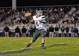 Reeths-Puffer Garrett Blanshine gets set to throw. Photo/Eric Sturr