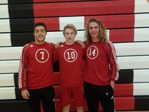 Whitehall soccer standouts Andrew Jennings, Jacob Knowlton and Matt Rohen.