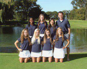 2013 Mona Shores girls golf team: Front Row (L/R): Kannedy Potts, Sami Sanborn, Kendall McKinley, Andrea Majeski. Back row: Darian Smith, Rylee George, Maddie Burda, coach John Brainard.