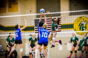 Zhane Harris plays big at the net for MCC. Photo/Tim Reilly