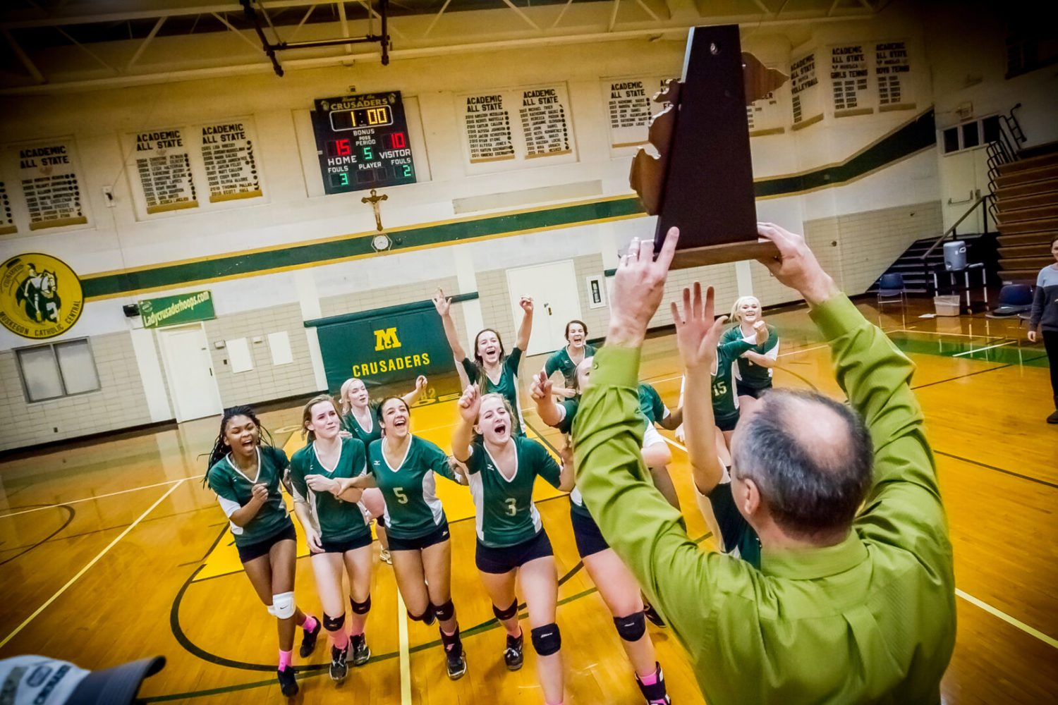 Muskegon Catholic wins fourth-straight district volleyball tite