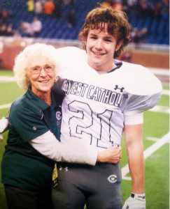 Mary Tyler with her grandson, Grand Rapids West Catholic junior Nick Buursma. Photo/Contributed