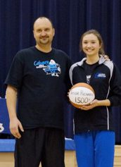 Taylor Richards was honored at a recent Fruitport Calvary Christian homecoming celebration for breaking the school's scoring record.