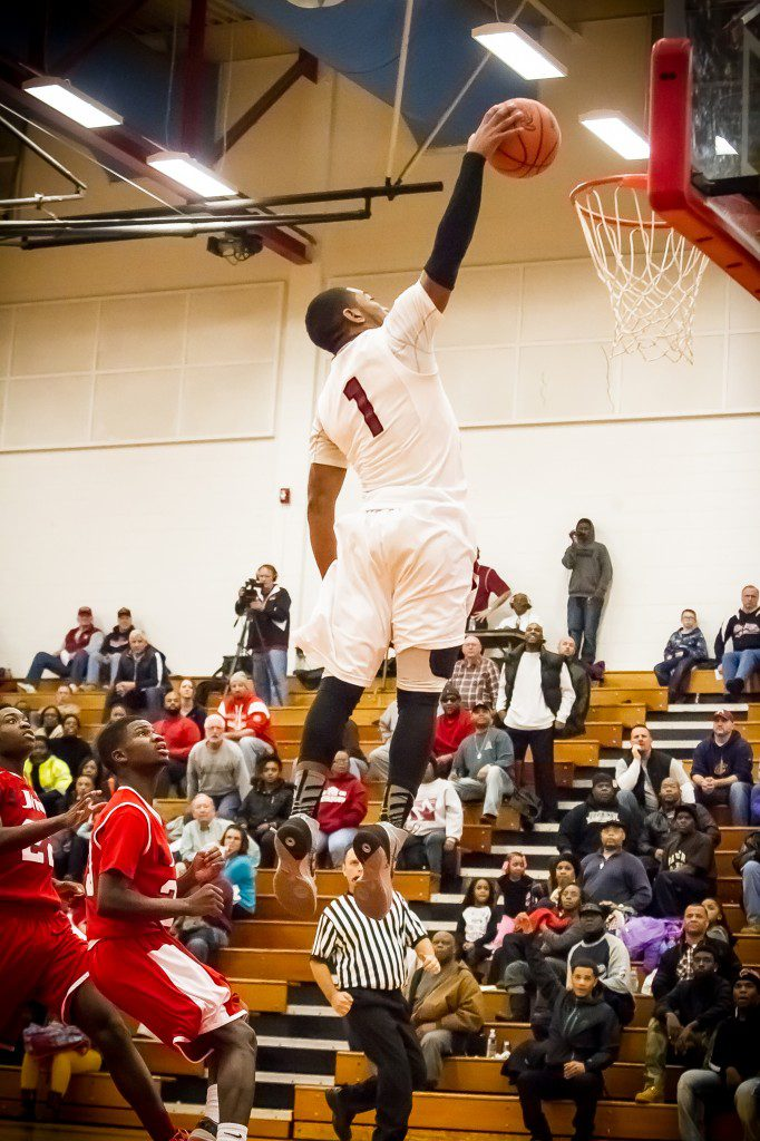Deshaun Thrower glides in for the Big Red dunk. Photo/Tim Reilly