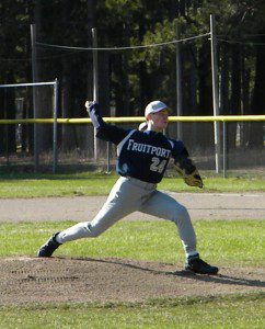 Kriger's wields back to throw a strike. The Fruitport freshman has a first love for baseball and looks to former MLB pitcher Jim Abbott for inspiration.