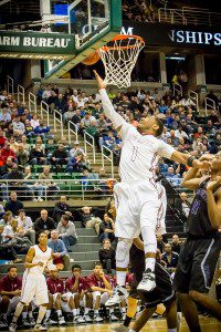 Deshaun Thrower on the layup for Muskegon. Photo/Tim Reilly