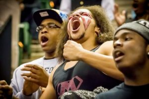 Muskegon students get amped during Muskegon's Class A state championship. Photo/Tim Reilly
