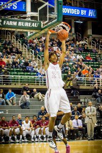 Deyonta Davis on jams home an alley-oop during during his impressive state final performance. Photo/Tim Reilly