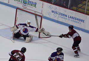 Connor Wood takes rebound and finds the goal. Photo/Jason Goorman