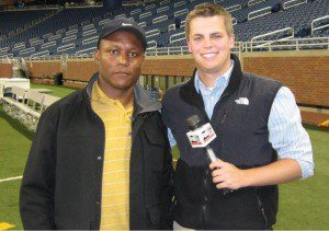 Terpstra stands with Barry Sanders during an interview at Ford Field.