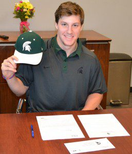 Carson Gatt signed his national letter of intent with Michigan State. Photo courtesy of Muskegon Lumberjacks