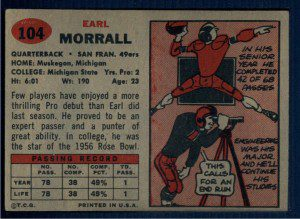 Reverse side of Morrall's 1957 rookie card.