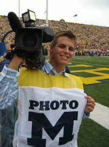Photo of Terpstra shooting Michigan football.
