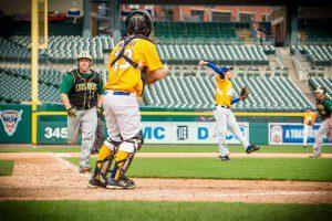 Joe Pallas scores on the fielders choice. Photo/Tim Reilly