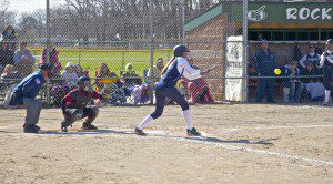 Alyssa Veihl lays down a bunt for Fruitport during Saturday's GMAA softball finals. Photo/Jason Goorman