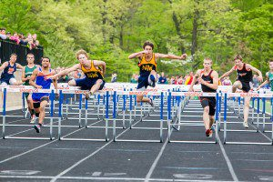 Walton last year at the regional meet. He made it to the state meet in the 110 meter high hurdles, but was  disqualified in the finals after an errant hurdle caused him to leave his lane. (Photo/Tim Reilly)