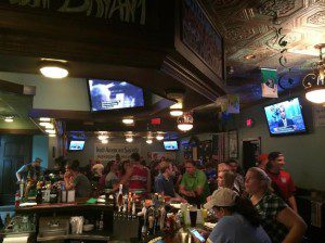"""The """"Grind Line"""" fan club of the Muskegon Risers gathered at Hennessy's Irish Pub on Monday for the U.S. World Cup win over Ghana."""