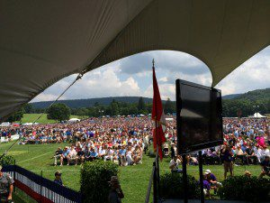 A view of the crowd from the stage at the recent Baseball Hall of Fame ceremony.
