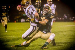 Jake Kimbrough makes the open field tackle for MCC. Photo/Tim Reilly