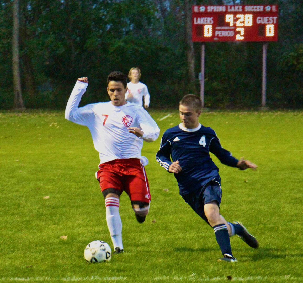 Spring Lake takes a big step toward reclaiming the Lakes 8 soccer title by downing rival Fruitport 1-0 in overtime