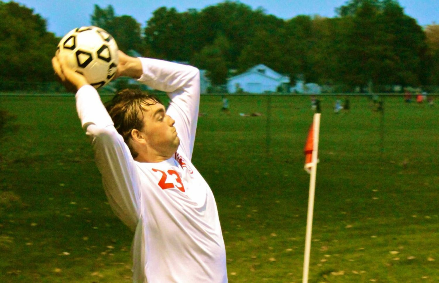 Spring Lake's Keegan George uses his huge body frame to help the Lakers pile up soccer victories
