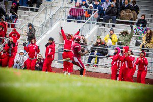 Alquan Evans reaches the end zone for Muskegon. Photo/Tim Reilly