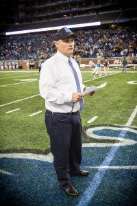 Coach Koziak prepares at midfield prior to the D2 state final game. Photo/ Tim Reilly