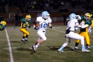 Hunter Broersma (10) gives Mona Shores great field position on the punt return. Photo/Eric Sturr