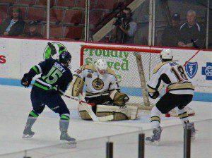 Muskegon goaltender Erich Schierhorn posts the save off the Ryan Siroky shot. Photo/jason Goorman