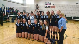 Ravenna, Class D district volleyball champs. Photo/Dave Hart