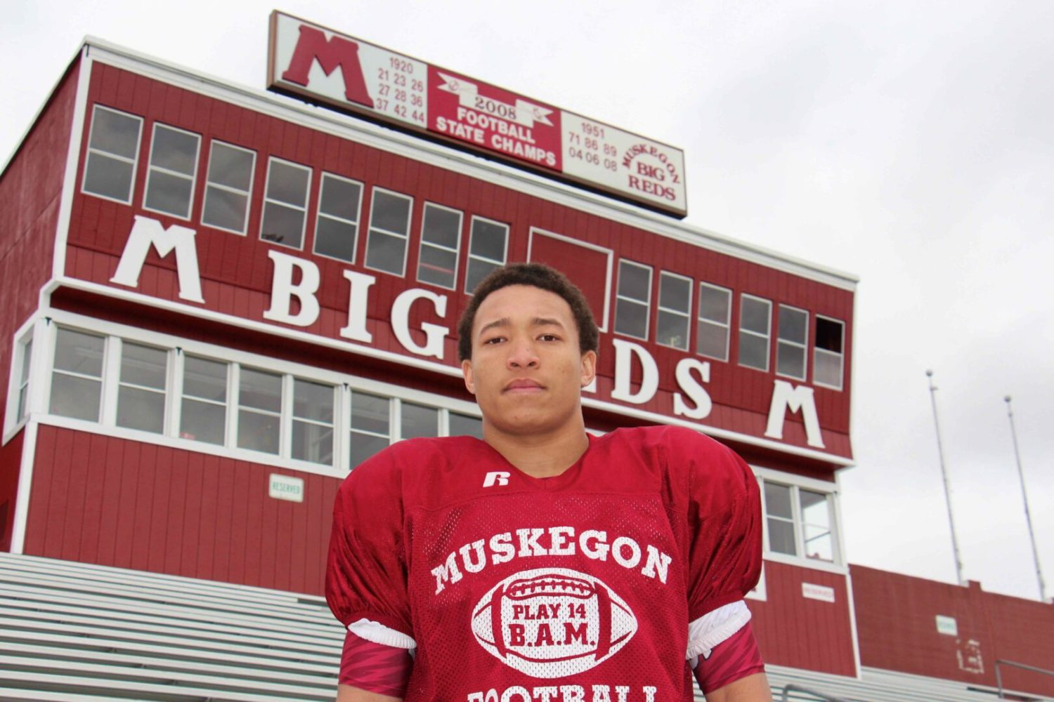 Caleb Washington makes things happen on both sides of the ball for the Muskegon Big Reds