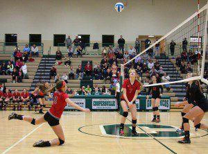Whitehall's Alyssa Myers reaches out to make the hit as No. 7 Rachel Brown keeps her eye on the ball. Photo/Jason Goorman