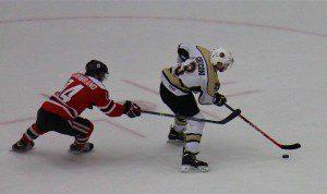 Joseph Cecconi brings the puck towards the net. Photo/Jason Goorman