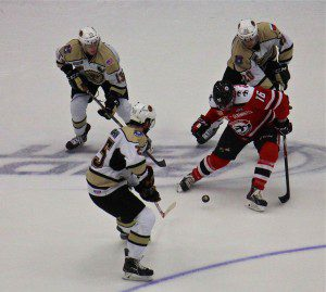 No. 25 Tommy Marchin goes for the puck after a Griffen Molino pass. Photo/Jason Goorman