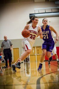 Whitehall's Emily MacArthur (32) in action against Shelby. Photo/Tim Reilly