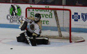 Muskegon's Michael Latorella on the save for his first ever shutout. Photo/Jason Goorman