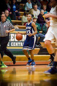 Fruitport #23 Lyana Brown brings the ball up court vs MCC photo/Tim Reilly