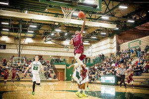 Muskegon #32 Joeviair Kennedy with the late breakaway dunk photo/Tim Reilly