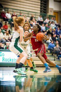 Muskegon No. 12 Mardrekia Cook drives the lane photo/Tim Reilly