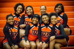 Heights Cheer squad gets ready for the game  photo/Tim Reilly
