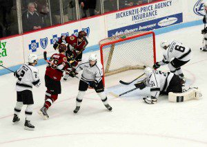 Lumberjacks' No. 27 Max Humitz puts the puck in the net for the Jack's second goal on the night.  Photo/Eric Sturr
