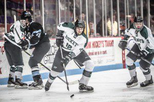 No. 12 Brody Vanderlinde looks to control the puck for Reeths-Puffer. Photo/Joe Lane