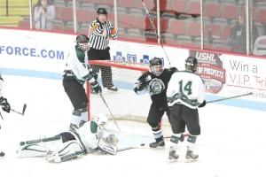 Mona Shores' Elijah Wilson reacts after finding the goal. Photo/Joe Lane