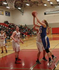 Emma Flagstead goes in for two of her six points on the night for Montague. Photo/Scott Stone