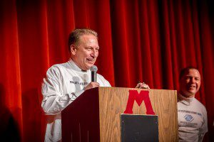MSU mens basketball head coach helps kick off the Boys and Girls club campaign. Chairman DJ Hilson looks on photo/ Tim Reilly