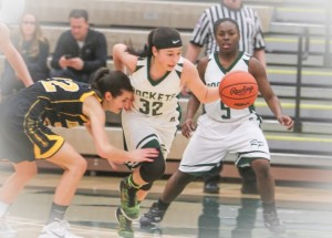 Elysia Mattos gets the steal and leads the break for Reeths-Puffer. Photo/Joe Lane