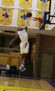 Aaron Sydnor attempts the dunk for MCC. Photo/Jason Goorman